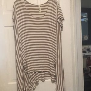 Brown and white stripe top